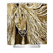 Horse Abstract Neutral Shower Curtain