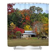 Horse And Barn In The Fall 3 Shower Curtain