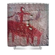 Horse And Rider Cave Painting Shower Curtain