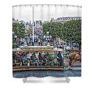 Horse And Trolley Main Street Disneyland 01 Shower Curtain