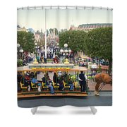 Horse And Trolley Main Street Disneyland 02 Shower Curtain
