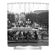 Horse And Trolley Main Street Disneyland Bw Shower Curtain