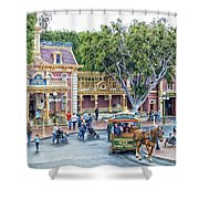 Horse And Trolley Turning Main Street Disneyland 01 Shower Curtain