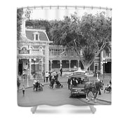 Horse And Trolley Turning Main Street Disneyland Bw Shower Curtain