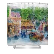 Horse And Trolley Turning Main Street Disneyland Photo Art 01 Shower Curtain