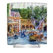 Horse And Trolley Turning Main Street Disneyland Photo Art 02 Shower Curtain