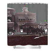 Horse Drawn Trolleys The Great White Hope Set Globe Arizona 1969-2013  Shower Curtain