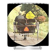Horse Drawn Vechicles Round Shower Curtain