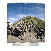 Horse Drivers Near A Volcano At Bromo Java Indonesia Shower Curtain