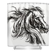 Horse Face Ink Sketch Drawing - Inventing A Horse Shower Curtain