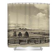 Horse Farm Sepia Shower Curtain