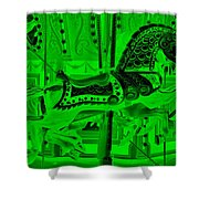 Green Horse E Shower Curtain