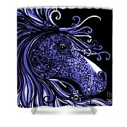 Horse Head Blues Shower Curtain