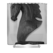 Horse Head Sculpture Black And White Shower Curtain