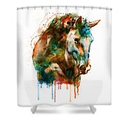 Horse Head Watercolor Shower Curtain
