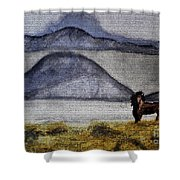 Horse Of The Mountains With Stained Glass Effect Shower Curtain