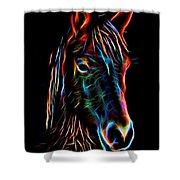 Horse On Black Shower Curtain