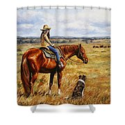 Horse Painting - Waiting For Dad Shower Curtain by Crista Forest