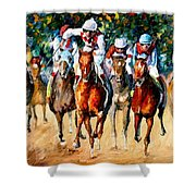Horse Race - Palette Knife Oil Painting On Canvas By Leonid Afremov Shower Curtain