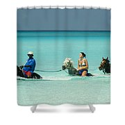 Horse Riders In The Surf Shower Curtain