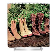 Horse Riding Boots Shower Curtain