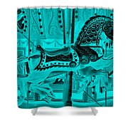 Turquoise Horse E Shower Curtain