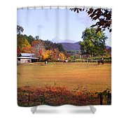 Horses And Barn In The Fall 4 Shower Curtain