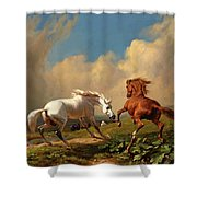 Horses Balking At Approaching Storm Shower Curtain