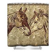 Horses On Marble Shower Curtain