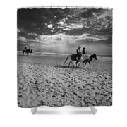 Horses On The Beach Bw Shower Curtain