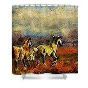 Horses On The Gogh Shower Curtain