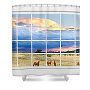 Horses On The Storm Large White Picture Window Frame View Shower Curtain