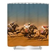 Horses Racing To The Finish Line Shower Curtain
