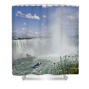 Horseshoe Falls With Maid Of The Mist Shower Curtain by Peter Mintz