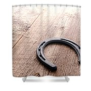 Horseshoe On Wood Floor Shower Curtain