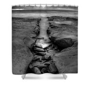 Horseshoes Beach  Black And White Shower Curtain