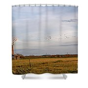 Horsey Windmill In Autumn Shower Curtain