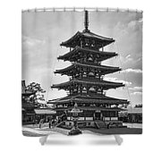Horyu-ji Temple Pagoda B W - Nara Japan Shower Curtain by Daniel Hagerman