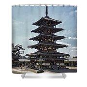 Horyu-ji Temple Pagoda - Nara Japan Shower Curtain by Daniel Hagerman