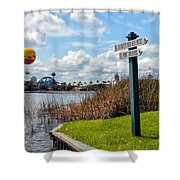Hot Air Balloon And Old Key West Port Orleans Signage Disney World Shower Curtain