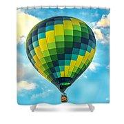 Hot Air Balloon Checkerboard Shower Curtain