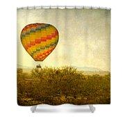 Hot Air Balloon Flight Over The Southwest Desert Fine Art Print  Shower Curtain