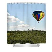 Hot Air Balloon In The Farmlands Shower Curtain