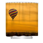 Hot Air Balloon In The Golden Sky Shower Curtain
