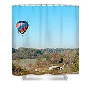 Hot Air Balloon Over Farm Land Shower Curtain