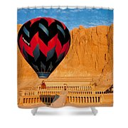 Hot Air Balloon Over Thebes Temple Shower Curtain