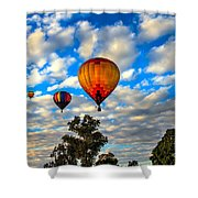 Hot Air Balloons Over Trees Shower Curtain