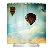 Hot Air Baloons In Blazing Sky Shower Curtain