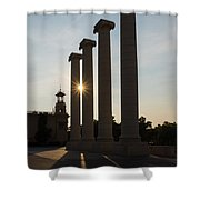 Hot Barcelona Afternoon - Magnificent Columns And Brilliant Sun Flares Shower Curtain