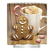 Hot Chocolate Toasted Marshmallows And A Gingerbread Cookie Shower Curtain